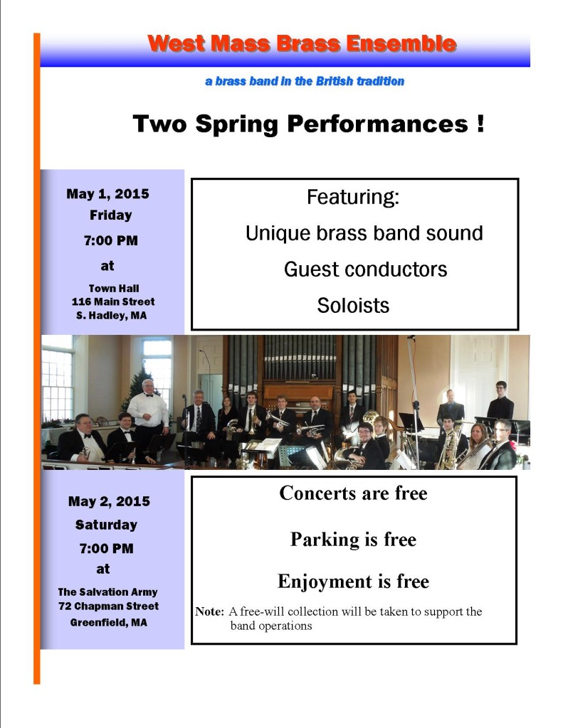 West Mass Brass Ensemble Spring 2015 Concerts